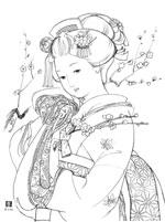 ぬりえ/美人画「恋文」無料ダウンロード