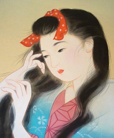 画像2: 美人画[洗い髪」小全紙版額入り