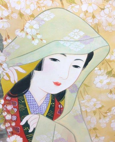 画像2: 美人画[花に紛れて-はなにまぎれて-」大全紙版額入り