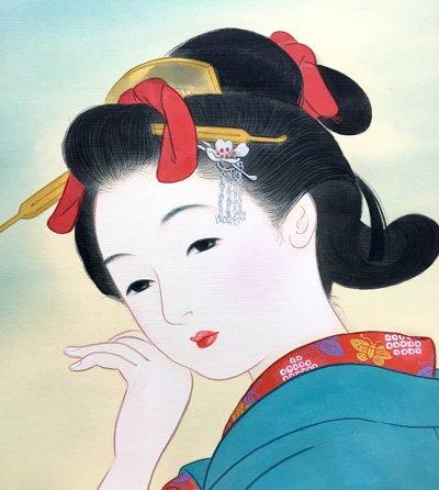画像2: 美人画[袖を引くのは-そでをひくのは-」小全紙版額入り