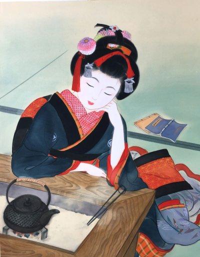 画像1: 美人画「火鉢-ひばち-」大全紙版額入り