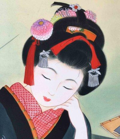 画像2: 美人画「火鉢-ひばち-」大全紙版額入り