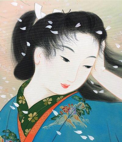 画像1: 美人画[花嵐-はなあらし-」大全紙版額入り