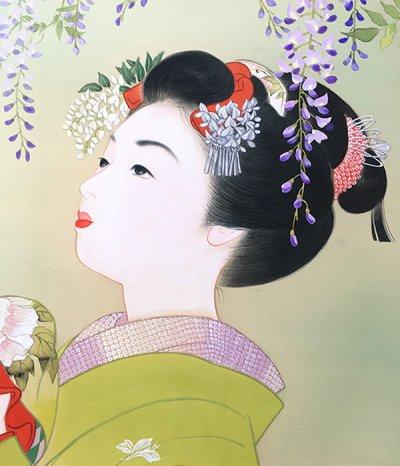画像1: 美人画「野田藤-のだふじ-」小全紙版額入り