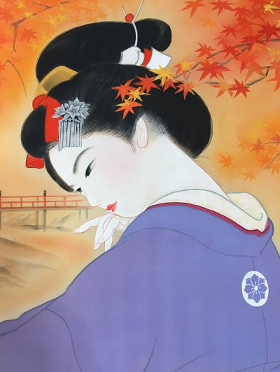 画像1: 美人画「竜田川-たつたがわ-」大全紙版額入り