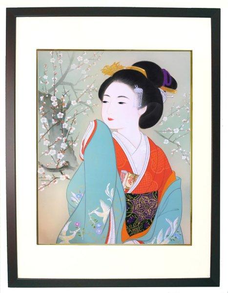 画像1: 美人画[白梅-はくばい-」大全紙版額入り (1)