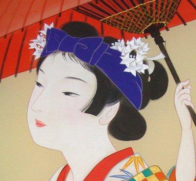 画像1: 美人画[小町踊り-こまちおどり-」大全紙版額入り