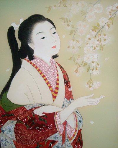 画像1: 美人画[枝垂れ桜-しだれざくら-」小全紙版額入り