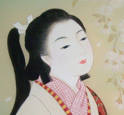 画像2: 美人画[枝垂れ桜-しだれざくら-」小全紙版額入り