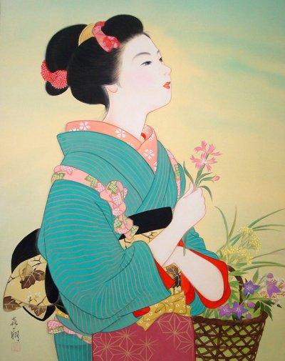 画像1: 美人画[撫子-なでしこ-」大全紙版額入り