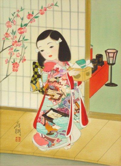 画像1: 童女画「桃の節句」四つ切り額入り
