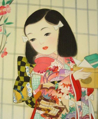 画像2: 童女画「桃の節句」四つ切り額入り