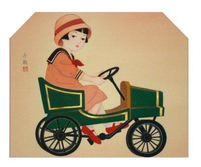 画像1: 童女画「自動車の少女」50×60cm額入り