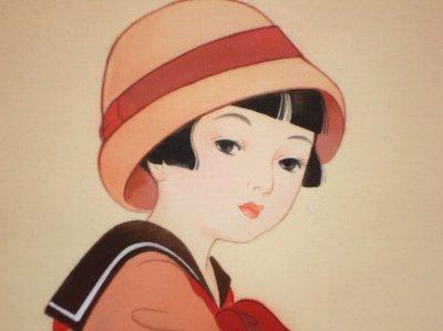 画像2: 童女画「自動車の少女」50×60cm額入り