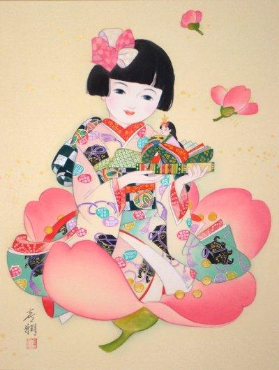 画像1: 童女画「雛人形2」四つ切り額入り