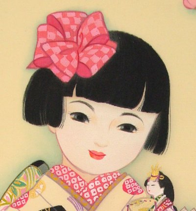 画像2: 童女画「雛人形」四つ切り額入り