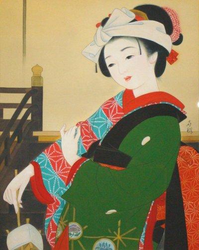 画像1: 歌舞伎連作「妹背山女庭訓/お三輪」大全紙版額入り