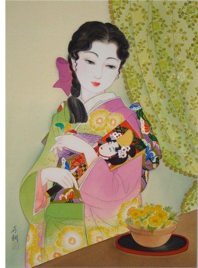 画像1: 大正浪漫美人画「福寿草」小全紙額入り