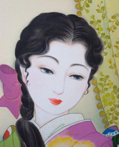 画像2: 大正浪漫美人画「福寿草」小全紙額入り