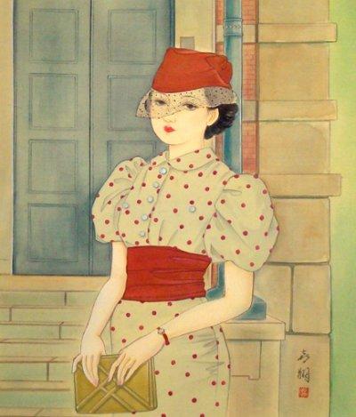 画像1: わけあり!昭和レトロ美人画[水玉の服の女」特注額入り