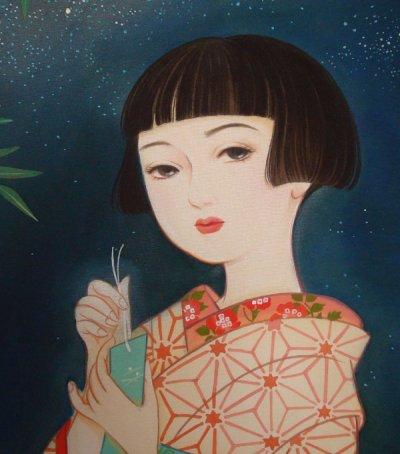 画像2: 大正ロマン少女画「星祭り」四つ切り額入り