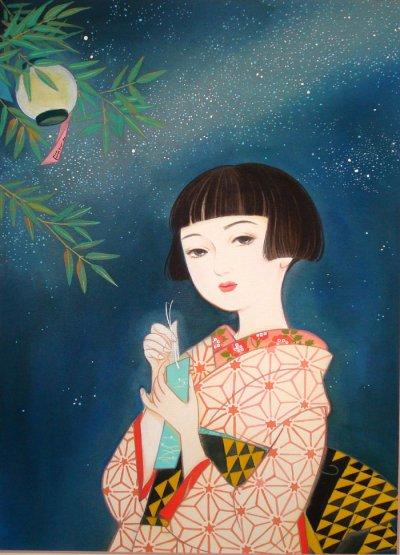 画像1: 大正ロマン少女画「星祭り」四つ切り額入り