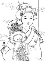 ぬりえ 美人画 08初春